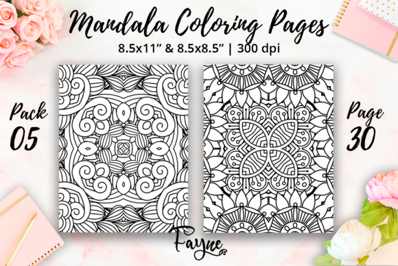 Print on Demand: Mandala Coloring Book Pack 05 | KDP Graphic Coloring Pages & Books Adults By Fayne