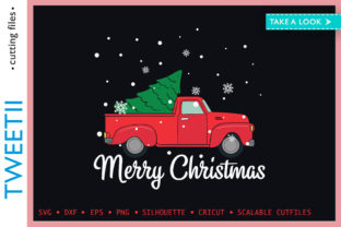 Print on Demand: Merry Christmas Red Truck Christmas Tree Graphic Crafts By Tweetii