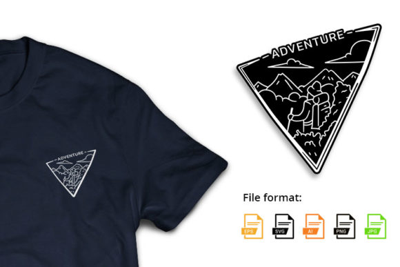 Monoline Adventure Backpacker Triangle Graphic Illustrations By hello.teeszone