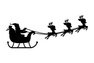 Print on Demand: Silhouette of Santa Claus Graphic Illustrations By curutdesign