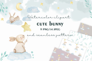 Watercolor Bunny Clipart and Pattern Graphic Patterns By SleptArt