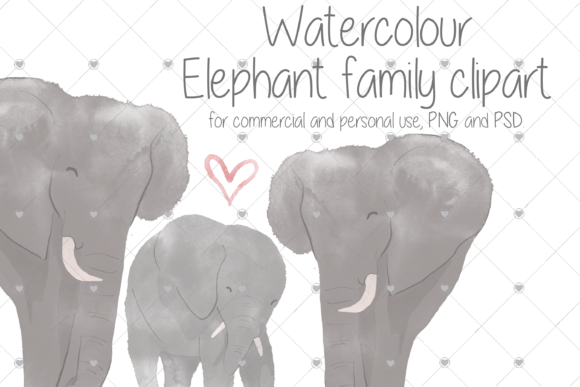 Print on Demand: Watercolour, Elephant, Animal, Family, Graphic Illustrations By essexprintingservice