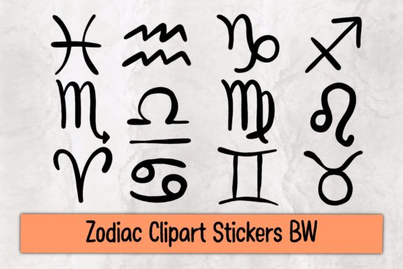 Zodiac Clipart Stickers BW Graphic Illustrations By TakeNoteDesign