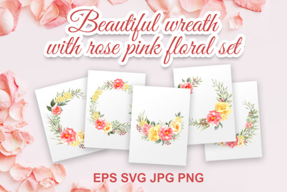 Print on Demand: Beautiful Wreath with Rose Pink Floral Graphic Illustrations By AzrielMch