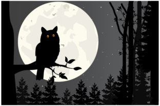Print on Demand: Owl and Moon Silhouette Graphic Illustrations By curutdesign