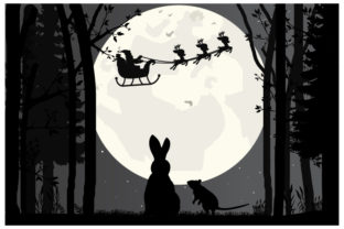 Print on Demand: Santa Claus and Moon Silhouette Graphic Illustrations By curutdesign