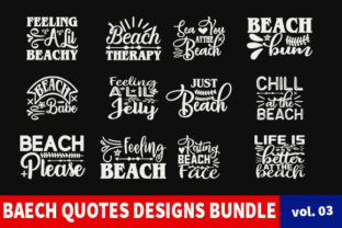 Print on Demand: 14 Beach Quotes Designs Bundle Graphic Print Templates By Star_Graphics