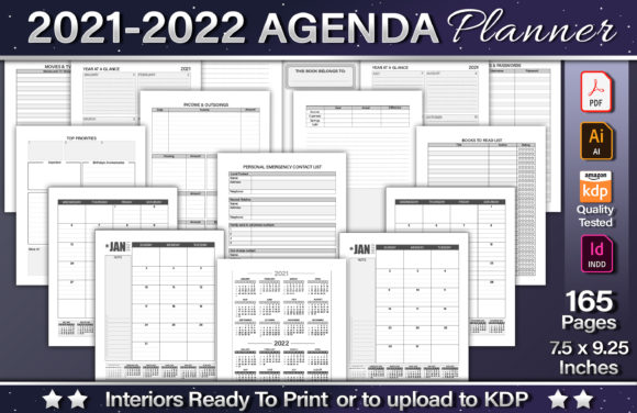 2021-2022 Agenda Planner Template Graphic KDP Interiors By okdecoconcept