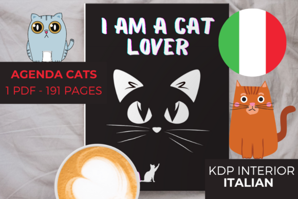 AGENDA CATS | ITALIAN VERSION 191 PAGES Graphic KDP Interiors By Piqui Designs