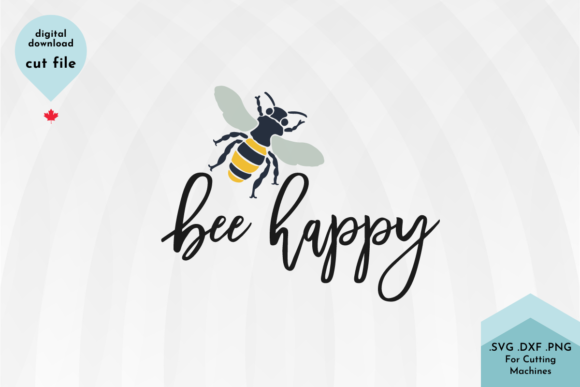 Print on Demand: Bee Happy Svg File, Hand Drawn Svg Graphic Crafts By Lettershapes