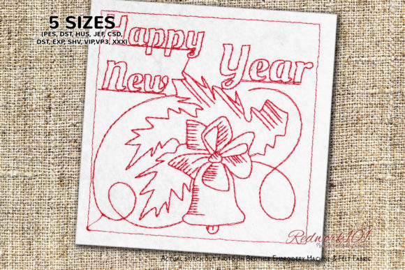 Bell New Year Bluework Backgrounds Embroidery Design By Redwork101