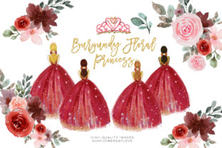 Print on Demand: Burgundy Floral Princess Clipart Graphic Illustrations By SunflowerLove
