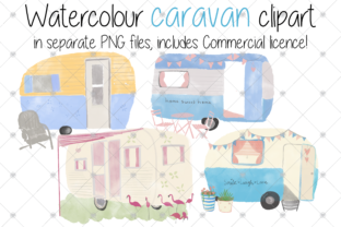 Print on Demand: Caravan, Watercolour, Holiday, Camper, Graphic Illustrations By CommercialCliparts