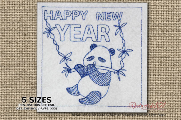 Cartoon Panda Hanging to the Branch Marine Mammals Embroidery Design By Redwork101