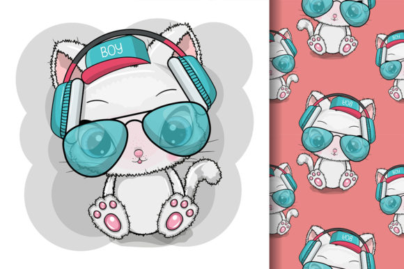 Cat with Sun Glasses and Headphones Graphic Illustrations By maniacvector