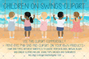 Print on Demand: Children, Child, Swing Clipart, Friend, Graphic Illustrations By CommercialCliparts
