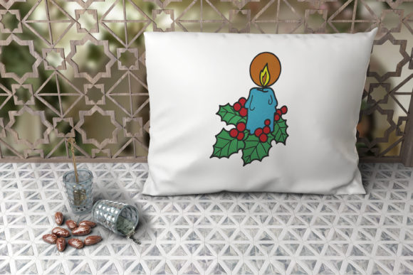 Christmas Candle Embroidery Item