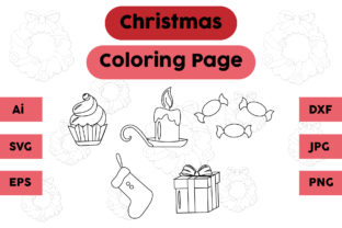Christmas Coloring Page Candle Candy Set Graphic Coloring Pages & Books Kids By isalsemarang 1