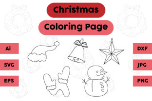 Christmas Coloring Page Hat Bell Set Graphic Coloring Pages & Books Kids By isalsemarang