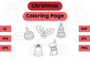 Christmas Coloring Page Plum Tree Set Graphic Coloring Pages & Books Kids By isalsemarang