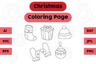 Christmas Coloring Page Socks Gift Set Graphic Coloring Pages & Books Kids By isalsemarang