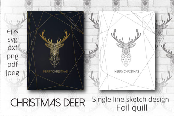 Christmas Deer. Single Line Design Graphic Crafts By inkoly.art
