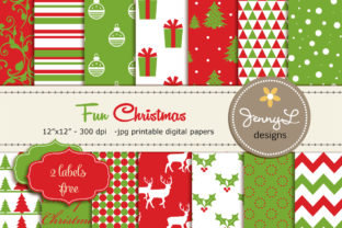 Christmas Digital Paper Clipart Graphic Patterns By jennyL_designs