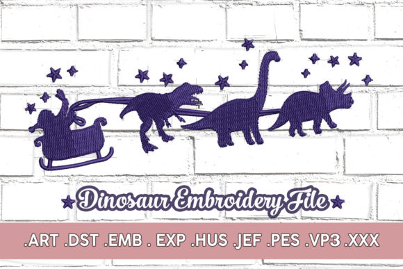 Christmas Dinosaur Christmas Embroidery Design By MaggieDoDesign