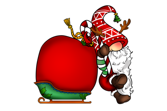 Christmas Gnome with Candy Cane & Gifts Graphic Illustrations By Roscoe Tots Design