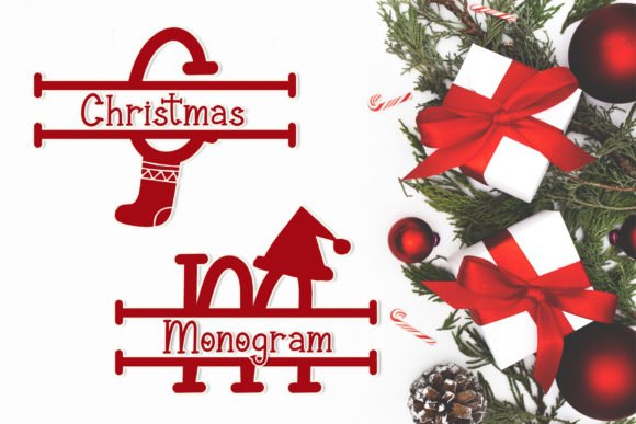 Print on Demand: Christmas Monogram Serif Font By AEN Creative Studio