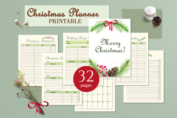 Christmas Printable Planner Graphic Print Templates By lena-dorosh