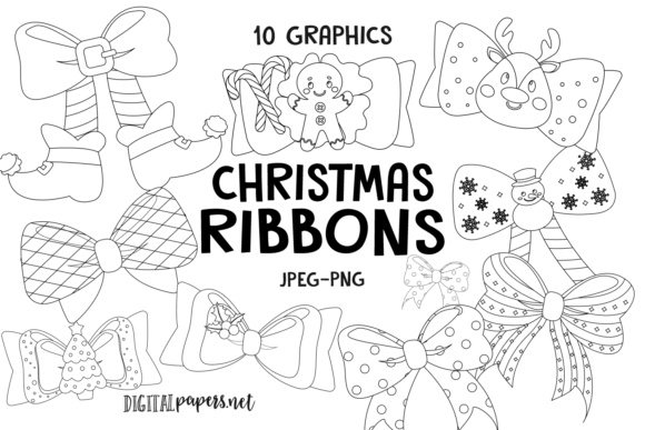 Print on Demand: Christmas Ribbons Outlines Graphic Illustrations By DigitalPapers