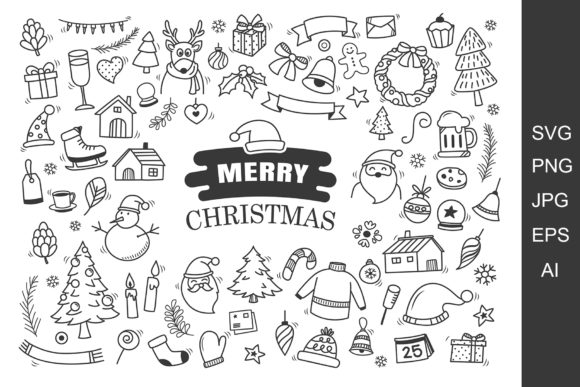Christmas Symbol in Doodle Style. Graphic Crafts By khanisorn