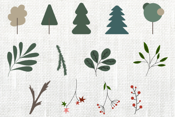 Christmas Tree and New Years Clipart Graphic Objects By CuteShopClipArt