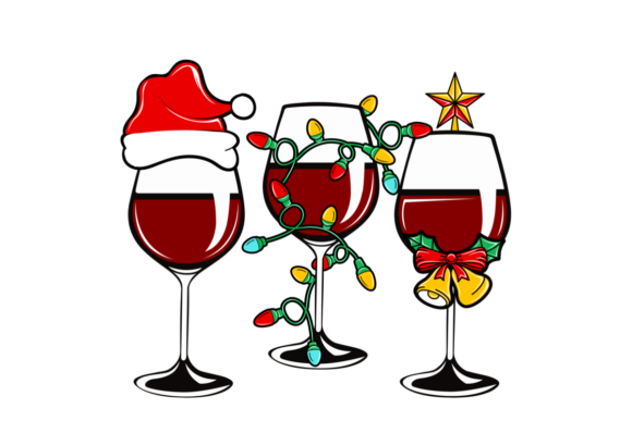 Christmas Wine Glasses with Santa Hat Graphic Illustrations By Roscoe Tots Design