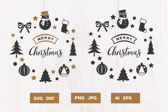 Print on Demand: Christmas Wreath Silhouette Graphic Crafts By pufanya