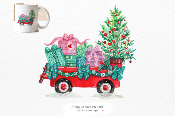 Christmas Gift Box and Tree Graphic Crafts By Chonnieartwork