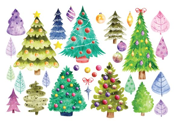 Christmas Tree in Watercolor Vector Graphic Illustrations By Big Barn Doodles
