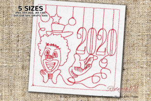 Clown Happy New Year 2020 Lineart Circus & Clowns Embroidery Design By Redwork101