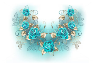 Composition with Turquoise Roses Graphic Illustrations By Blackmoon9