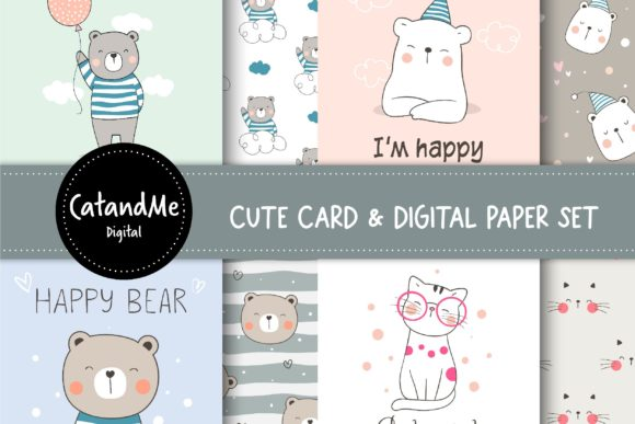 Cute Card and Digital Paper Set Graphic Illustrations By CatAndMe