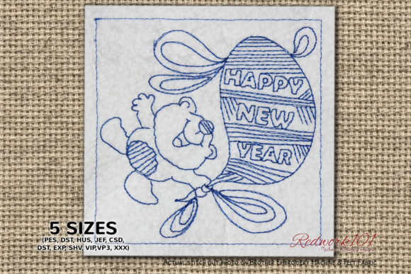 Cute Teddy Holding New Year Balloon Toys & Games Embroidery Design By Redwork101