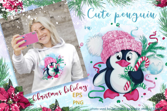 Cute Penguin and Christmas. Winter Graphic