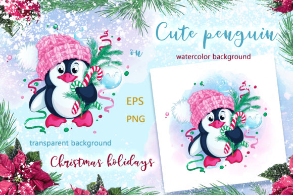 Cute Penguin and Christmas. Winter Graphic Download