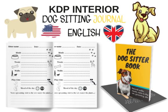 DOG SITTING JOURNAL PDF 100 PAGES Graphic KDP Interiors By Piqui Designs