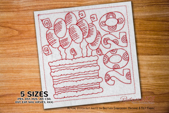 Delicious Cake with Balloons Decoration Dessert & Sweets Embroidery Design By Redwork101