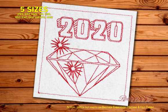 Diamond New Year Pattern Redwork Backgrounds Embroidery Design By Redwork101