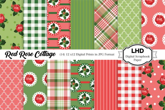 Digital Paper Red Rose Cottage Graphic Patterns By LeskaHamatyDesign