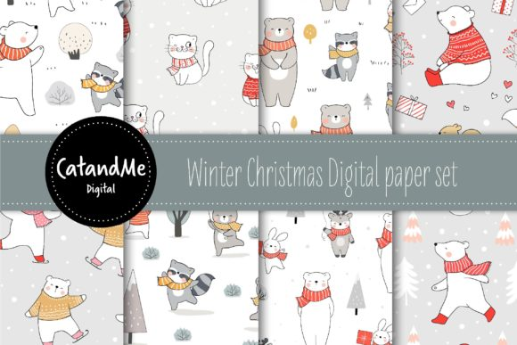 Digital Paper Winter Christmas Graphic Illustrations By CatAndMe