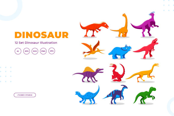 Dinosaur Illustration Collection Graphic Illustrations By OKEVECTOR